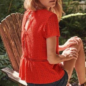 Sezane Cleo Crochet Eyelet Blouse Open Back sz38
